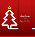 Christmas card with folded paper tree template vector image