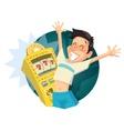 Boy play in casino Vintage vector image vector image