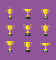 Golden trophy icons set vector image