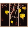 branch of a tree and Chinese lanterns vector image