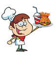 Boy Holding Up A Cheeseburger Fries And Cola vector image