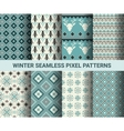 Collection of pixel retro seamless patterns with vector image