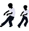 boy silhouette in Pulling Pose vector image