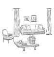 Drawn furniture Room interior sketch vector image