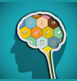 head with the brain the human mind vector image