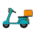 green motorcycle scooter delivery food drawing vector image