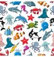 Sea fish and ocean animals cartoon pattern vector image vector image
