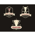 American football badge with winner cup sport vector image