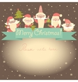 New Year funny card with Santa Clauses and ribbon vector image vector image