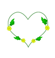 Ivy Plant with Blossoms in Heart Shape vector image