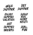 hand drawn set of summer lettering vector image