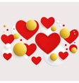 horizontal banner with red hearts and 3d vector image