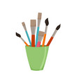 pencils brushes in jar colorful vector image