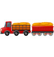 red truck loaded with hay vector image