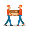 two workers mover men holding and carrying heavy vector image