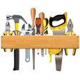 Wooden plank with tools vector image