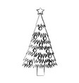 Sketch draw christmas tree cartoon vector image