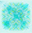 hand drawn ethnic square blue ornament vector image