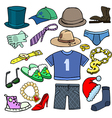 Cartoonish clothes shoes accessories vector image