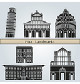 Pisa landmarks and monuments vector image vector image