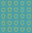 Shield line icons on blue background vector image vector image