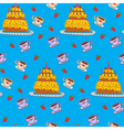 Happy Birthday Seamless Pattern with Cake vector image vector image