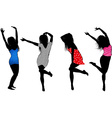 Dancing Girls Silhouette Cartoons vector image