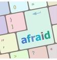afraid word on computer pc keyboard key vector image