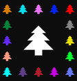 Christmas tree icon sign Lots of colorful symbols vector image
