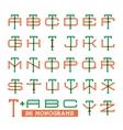 College sport team logo set Two overprint letters vector image
