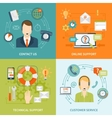Contact Us Customer Support 2x2 Flat Icons Set vector image