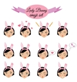 Cute sexy girl with bunny ears emoji set icons vector image