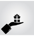 Hand and gifts icon vector image