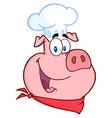 Happy Pig Chef Head vector image