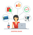 woman on shopping online vector image