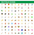 100 folk icons set cartoon style vector image