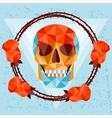 Card with colored geometric skull vector image