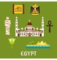 Egypt travel landmarks and symbols vector image