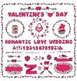 Romantic setHeart decorationletteringlabels vector image