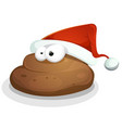 funny dung with santa hat vector image