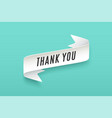 paper ribbon with text thank you vector image