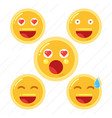 set of smiley face emoji in flat design icon vector image