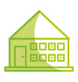 silhouette house with roof and windows with door vector image