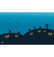 Silhouette of cat and zombie halloween backgrounds vector image