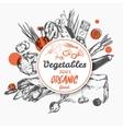 Sketch Label Organic Food vector image