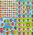 Set of 4 seamless pattern with owls vector image