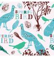 Retro Spring Birds Pattern vector image
