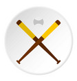 baseball bats and baseball icon circle vector image