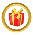 Gift box with ribbon bow icon vector image