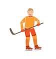 Guy Playing Hockey In Orange Uniform vector image